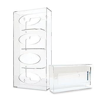 Quad (acrílico), con dispensador de guante Bundle con caja de pañuelos Holder: Amazon.es: Amazon.es