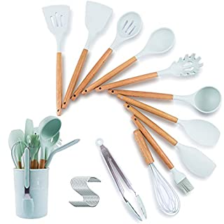 Geruishi Kitchen Cooking Utensils Set With holder,Silicone Cooking Spoon Wooden Handle,Spatula Set For Nonstick Cookware,Light Blue Silicon Kitchen Cooking Tools Utensils Set Heat Resistant 13PCS