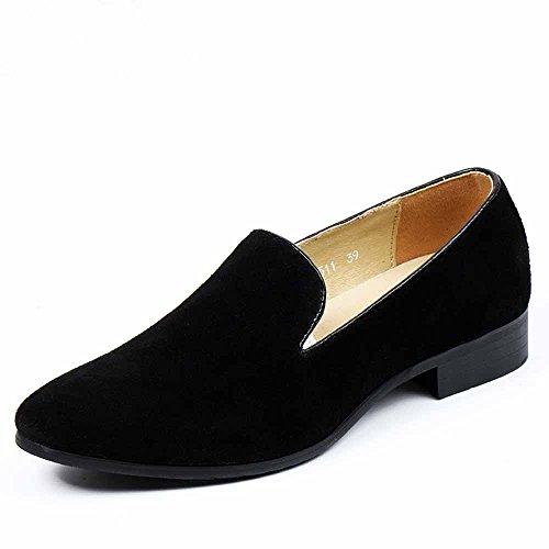 Shoes Slip Fashion 8 on Loafers Toe Embroidered Round Casual Black Men's Mens 5 Velvet Fulinken SXqnWx7Fnp
