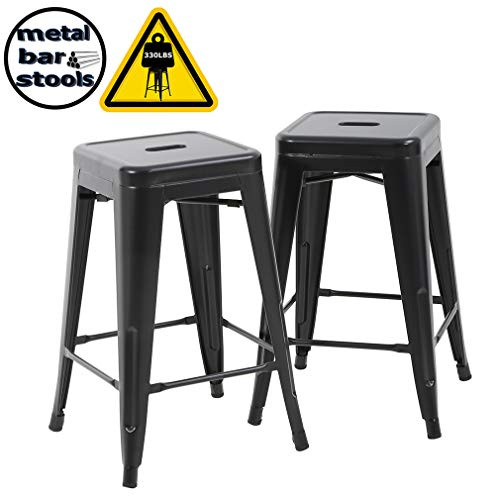 BestMassage Bar Stools Counter Stool Barstools Stackable Modern Metal Chairs Industrial Indoor/Outdoor 330lb Kitchen Counter Chair Metal Bar Stool 2 - 26 High Metal