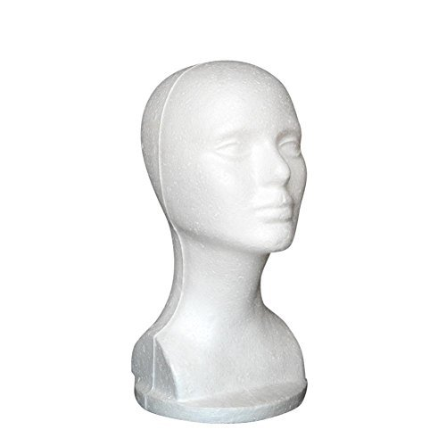 Bestpriceam Mannequin Female Foam Long Neck Head Model Hair Hat Wig Glasses Stand Display (White 1)