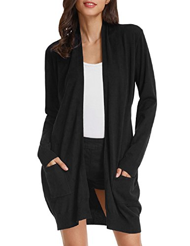 GRACE KARIN Comfortable Open Front Sweater Cardigan for Junior(XL,Black)