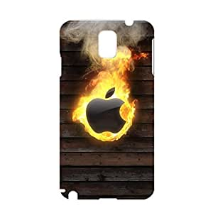 3D Apple Logo Phone Case Burning Apple Protective Cover Case for Samsung Galaxy Note 3 N9005 Luxury Logo