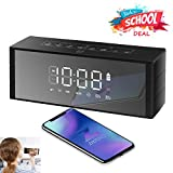Bluetooth Speaker Led Display, ZealSound Wireless Speaker with FM Radio, Clock, Dual Alarm, Snooze, 24-Hour Play,TF Card, Exclusive BassUp Perfect Wireless Speaker for Home and Outdoor Parties (Black)