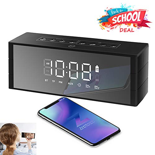 Bluetooth Speaker Led Display, ZealSound Wireless Speaker with FM Radio, Clock, Dual Alarm, Snooze, 24-Hour Play,TF Card, Exclusive BassUp Perfect Wireless Speaker for Home and Outdoor Parties (Black) by ZealSound