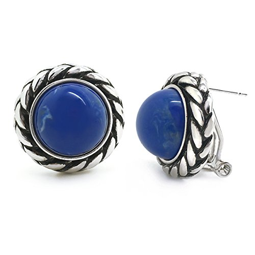 Sparkly Bride Blue Stud Earrings Antique Braided Rope Round Resin Women Fashion Omega Back (French Antique Rope)