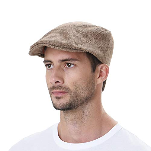 (WITHMOONS Ivy Cap Summer Cotton Newsboy Irish Gatsby Golf Hats MZ30038 (Brown))