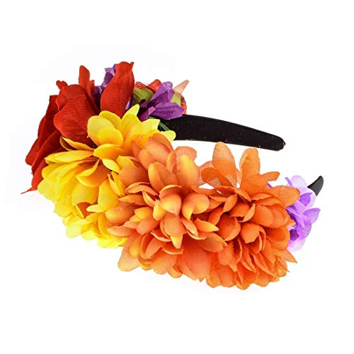 Daisyu Day Of The Dead Flower Crown Costume Floral Garland Headbands (style-c)]()