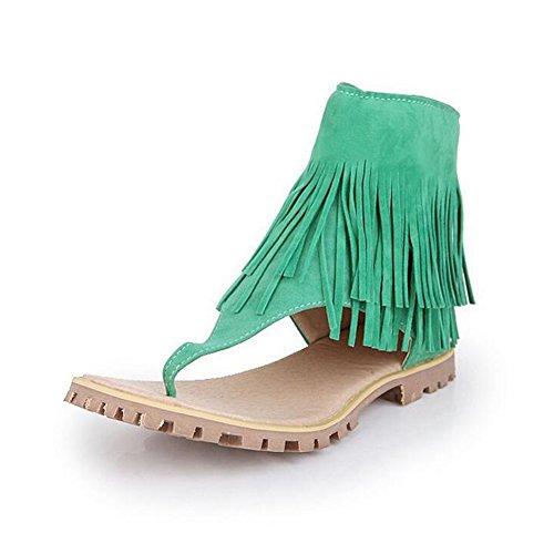 fereshte Women's Roman Style Gladiator Flat Fringe Sandals Clip Toe Zip Up Tassel Shoes Green bHKCR36