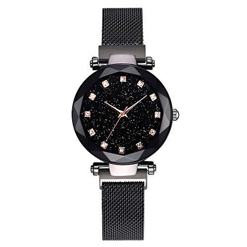 Hunzed Fashion Ladies Watch Magnetic Mesh Band Starry Sky Dial Analogue Quartz Stainless Wrist Watch for Women (Black)