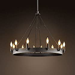 Ladiqi Wrought Iron Chandelier Ceiling Light Industrial Vintage Chandelier Lighting Rustic Lighting