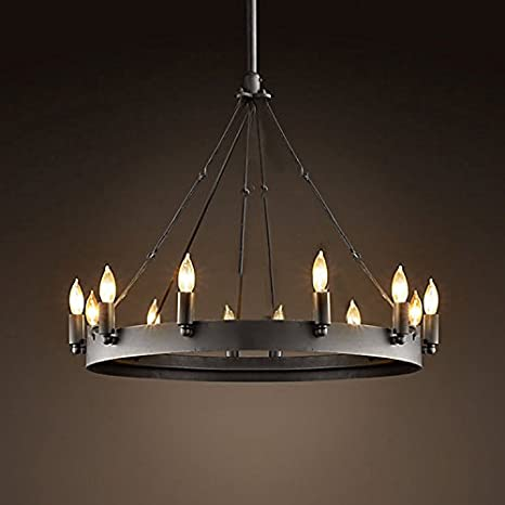 Ladiqi 12 Lights Wrought Iron Chandelier Light Industrial Pendant ...
