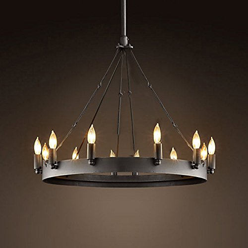 Ladiqi 12 Lights Wrought Iron Chandelier Light Industrial Pendant Light Vintage Island Lighting Hanging Ceiling Light Fixture