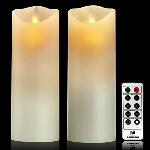 Candle Wall Sconce Set of 2 and Classic Pillar Real Flame-Effect Flameless LED Candles Set 6'' X 2.15'' with Remote and Timer Feature White Color - Set of 2 Metal Iron Glass Home Decor Room Bronze by Piller (Image #3)