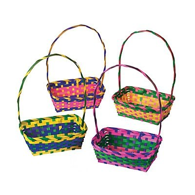 Multicolor Rectangular Easter Baskets 1 Dozen