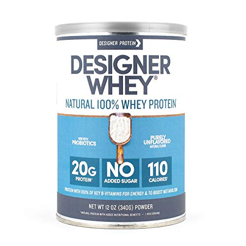 Designer Whey Protein Powder, Purely Unflavored, 12 Ounce, Non GMO