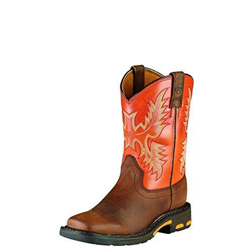 Kids' Workhog Wide Square Toe Western Cowboy Boot, Dark Earth/Brick, 6 M US Big Kid