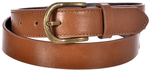 Sunny Belt Women's Faux Leather Brown Vintage Belt with Blue & Pink Pattern Large