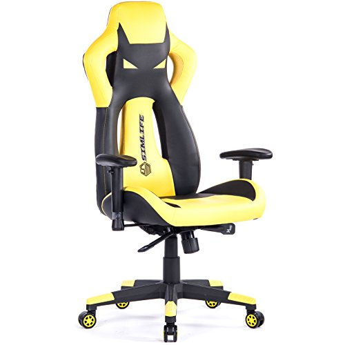 SimLife Executive Gaming Racing Swivel Chair, High Back with Lumbar Support & Headrest, Perfect for Office Home or Gaming, Yellow PU Leather