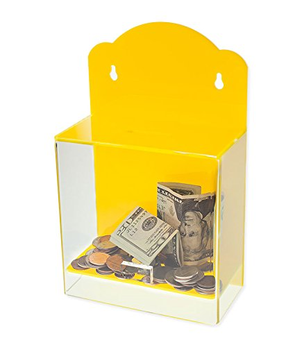 Source One Clear Face Yellow Donation Box - Ticket Box - Collection Box - Counter Top or Wall Mount Use