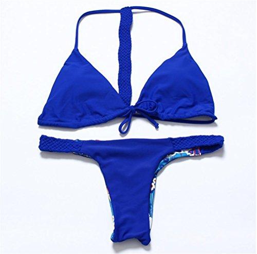 Erica Bikiníes de bikiní de bikiní de bikinis halter de punto de playa de las mujeres de dos piezas Set Swimsuit Contraste de color sólido sujetador acolchado inalámbrico #2