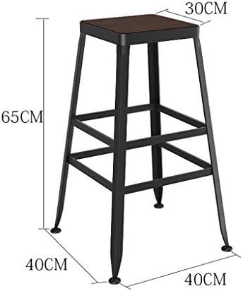 QZz Tabourets Tabouret de bar en fer 65 cm Sit haute créative tabouret européenne créative dossier chaise chaise en cuir en cuir Art chaises chaise haute (taille : Wood)