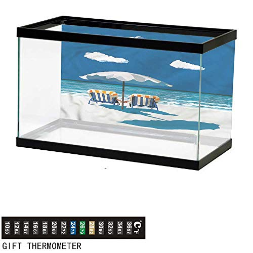 - bybyhome Fish Tank Backdrop Coastal,Couple on Deck Chairs Beach,Aquarium Background,36