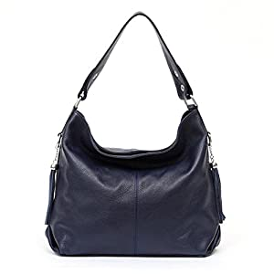 LOKOUO Handbags Genuine Cow Leather Women Handbag Bag Shoulder Messenger Tote Bags Chic Dark Blue34X30X10cm