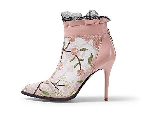 Negen Zeven Lederen Dames Puntige Naaldhak Bloemen Versierde Handgemaakte Jurk Enkellaarzen Roze