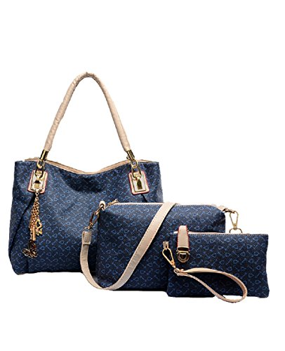 2016 Modern And Noble Pu Bag Tote Top Handle Bag Satchels Three Pieces In One Set (blue)