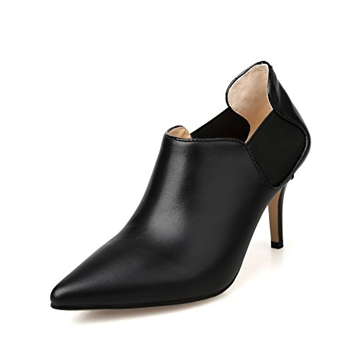 Toe No Womens Boots SDC04809 Closure AdeeSu Leather Pointed Tuxedo Black dwIWxqfftU