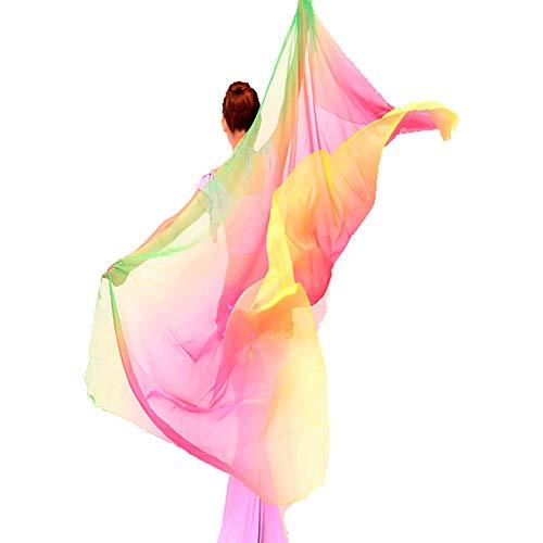 Women Belly Dance Veil Chiffon Silk Belly Dancing Scarf Shawls Plus Size 8.2x3.9ft (Green Rose Yellow, 8.2x3.9ft)