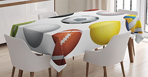 Sports Decor Tablecloth by Ambesonne, Diversified Sports ...