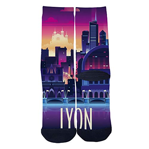 Mens Womens Personality Lyon France Travel poster Socks Crazy Custom Socks Creative Sport Casual Crew Socks Black -