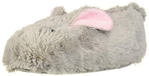 MUK LUKS Girls Bunny Slippers, Grey, L (1-2) M US Big Kid (Slipper Booties For Girls)