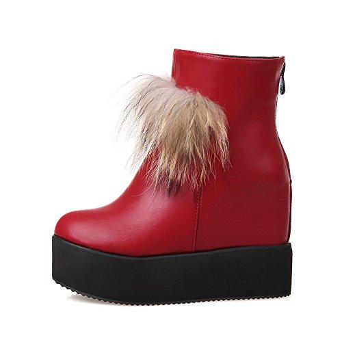 AllhqFashion Damen Hoher Absatz Rein Rund Zehe Reißverschluss Stiefel Rot
