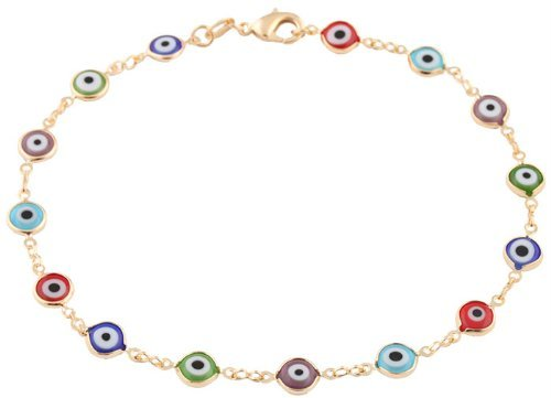 Gold Overlay with Multi Colors Mini Evil Eye Style 10 Inch Anklet - Style Eye