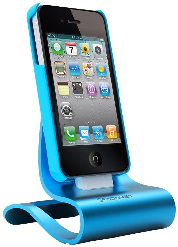 KONNET iCrado Plus - Metal / Metallic Charging / Charger Dock / Cradle / Stand / Kit with Charge and Sync Cable for iPhone 4S, 4, 3Gs, 3G and iPod Touch, Nano (Cyan) - Special Promo