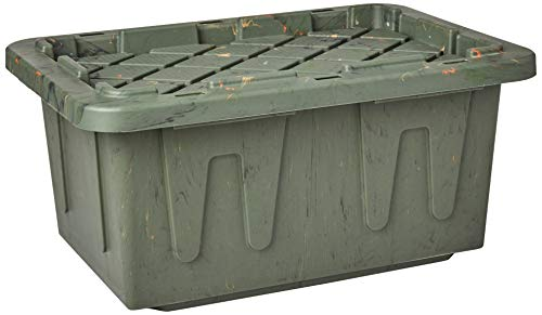 Homz Durabilt Tough Storage Tote Box, 15 Gallon, Camo With Lid, Stackable, 6-Pack