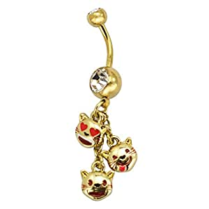 """Emoji Belly Ring Piercing, Cat Trio Emoji, Fun Emoticon Belly Dangle, Stainless Steel Belly Button Ring, 14 Gauge - 7/16"""" Barbell Length - Officially Licensed"""