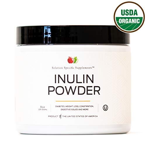 Pure Organic Inulin Powder Fiber Supplement - (Jerusalem Artichoke) Prebiotic Bulk Inulin Fiber Powder 8oz Digestion & Gut Health