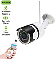 Outdoor Security Camera,1080P WiFi Outdoor Surveillance Cameras with Intelligent Humanoid Detection,Two Way Au