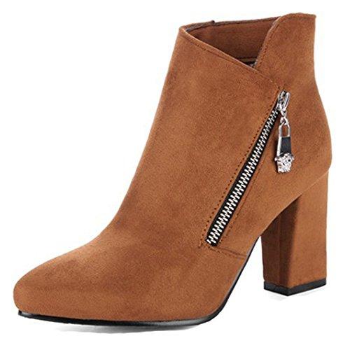 Aisun Womens Fashion Zip Upp Dressat Spetsig Tå Boots Chunky Hög Klack Tossor Skor Med Dragkedja Brun