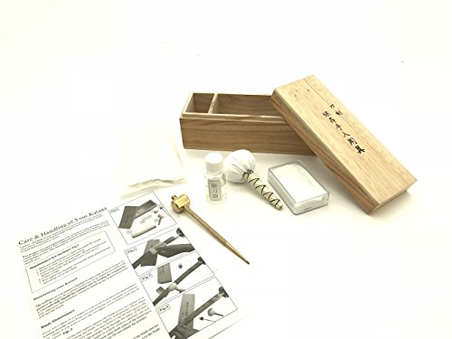 (Handmade Sword - Complete Swords Maintenance & Cleaning Kit, Rice Paper, Choji Oil, Ground Whetstone Power, Small Brass Hammer with Awl)