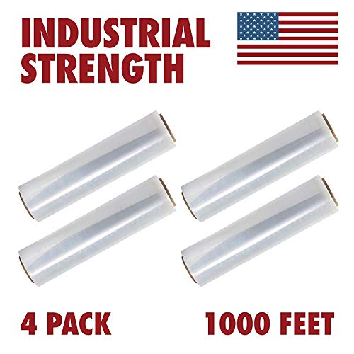 18 Inches X 1000 Feet Tough Pallet Shrink Wrap, 80 Gauge Industrial Strength Plastic Film, Commercial Grade Strength Film, Moving & Stretch Packing Wrap, for Furniture, Boxes, Pallets (4-Pack) from Ox Plastics