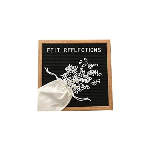 Black Felt Letter Board | 12x12 Solid Oak Frame | Includes 344 Characters (letters, numbers, emojis) & Drawstring Cotton Bag | Display Ready (wall mount) supplier
