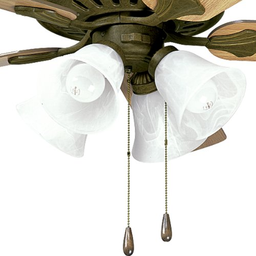 Progress Lighting P2616-86 Four-Light Kit with Alabaster Style Glass Bowl, For Use with P2503 Ceiling Fans, Burnished Chestnut
