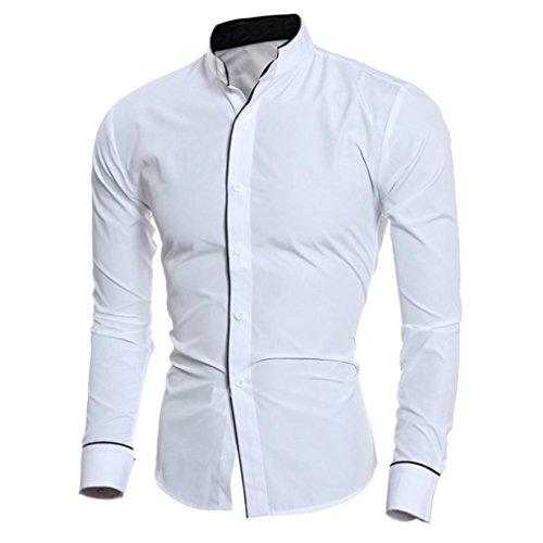 Hunzed Men Fashion Personality Shirt Top Casual Slim Long-sleeved Tops Blouse (White, XL)