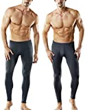 TSLA TM-MHB101-DGY_X-Large Men's 2 Pack Thermal Microfiber Fleece Lined Bottom Underwear Long Johns Stretchy with Fly MHB101