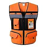 JKSafety 10 Pockets Class 2 High Visible Reflective Safety Vest Zipper Front Large Back Pockets Breathable and Mesh Lining (Large, Orange Black)